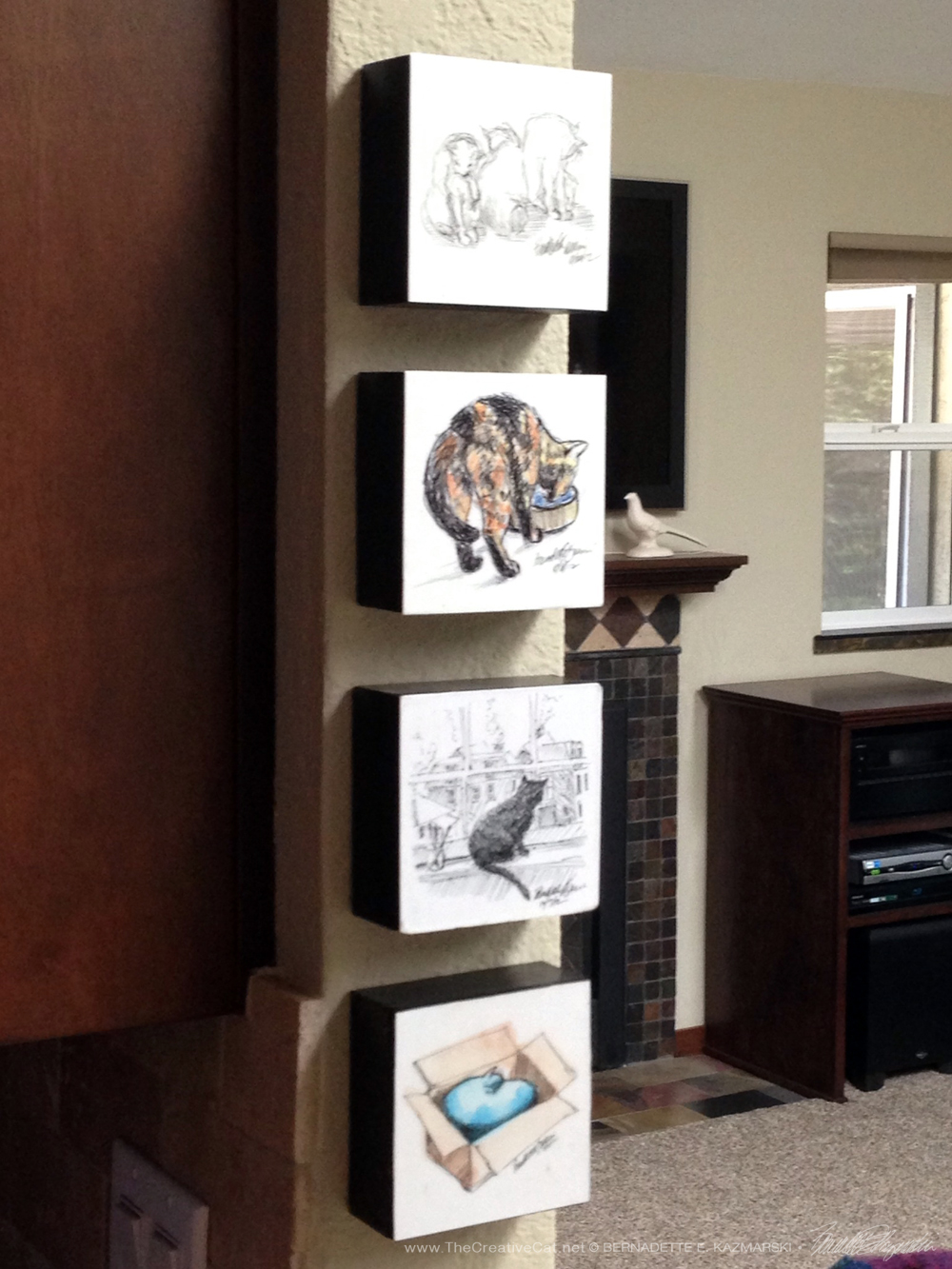 How a customer hung her wood-mounted art.