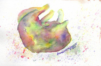 """Mewsette Watercolors"", watercolor, 6″ x 9″ © Bernadette E. Kazmarski"
