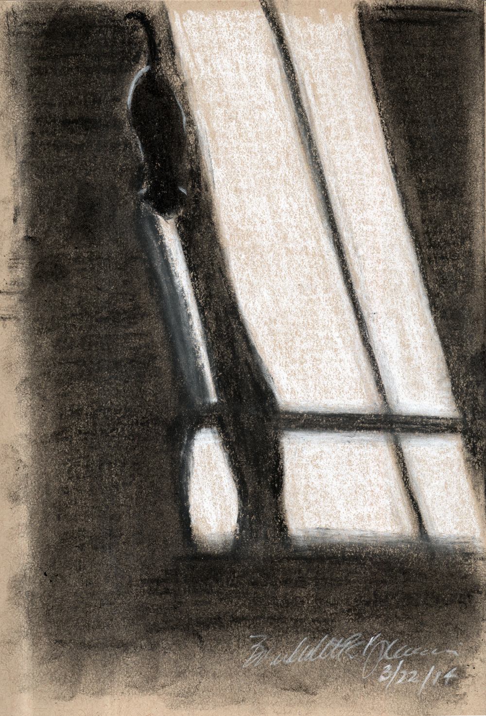 """Long Morning Shadows"", white and black and soft, vine and compressed charcoal on toned paper, 5.5″ x 8.5″ © Bernadette E. Kazmarski"