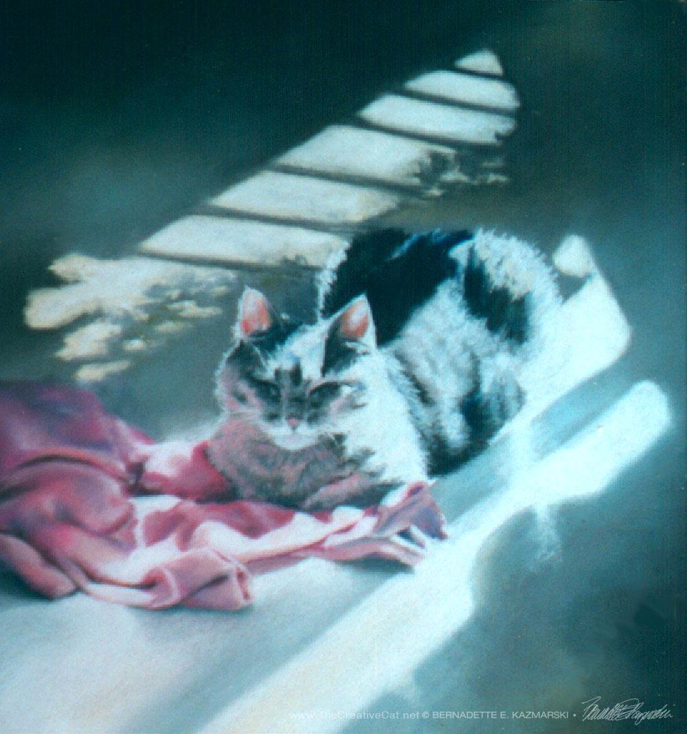 """A Rosy Glow"", pastel on velour paper, 10″ x 10″, 1996 © Bernadette E. Kazmarski"