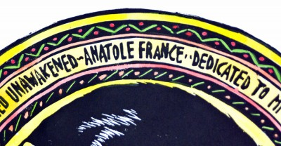 Detail of text in B. Awakening with warm and bright hand coloring.