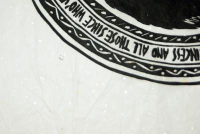 Awakening, detail of speckled paper.