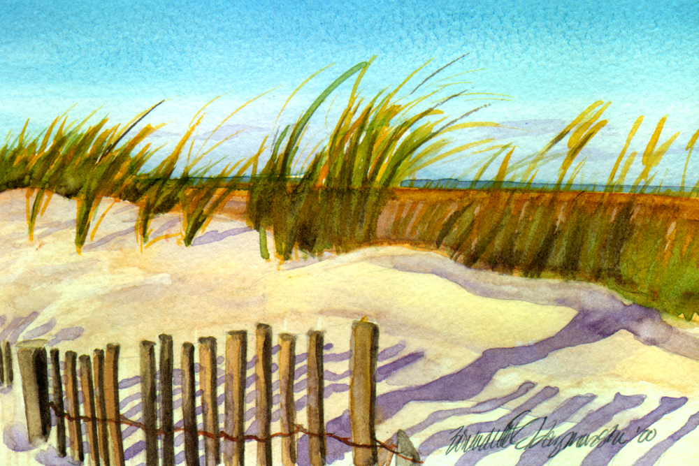 Evening Beach, watercolor, 8 x 10, 2000 © Bernadette E. Kazmarski