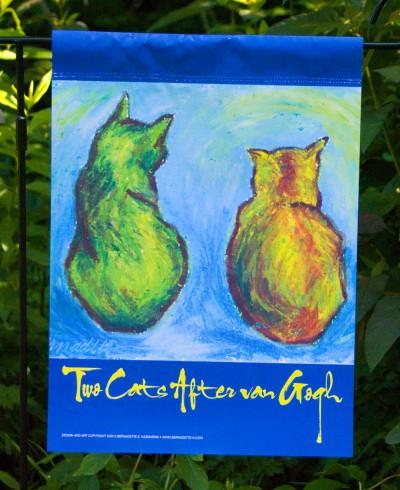 Front Garden Flag, Cats After Van Gogh