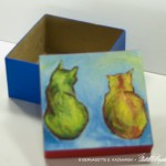 Open view Front view Two Cats After van Gogh Keepsake Box