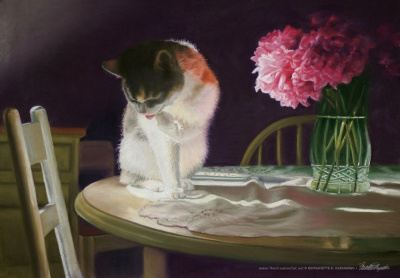"Peaches and Peonies, pastel, 23"" x 16"" © 2008 Bernadette E. Kazmarski"