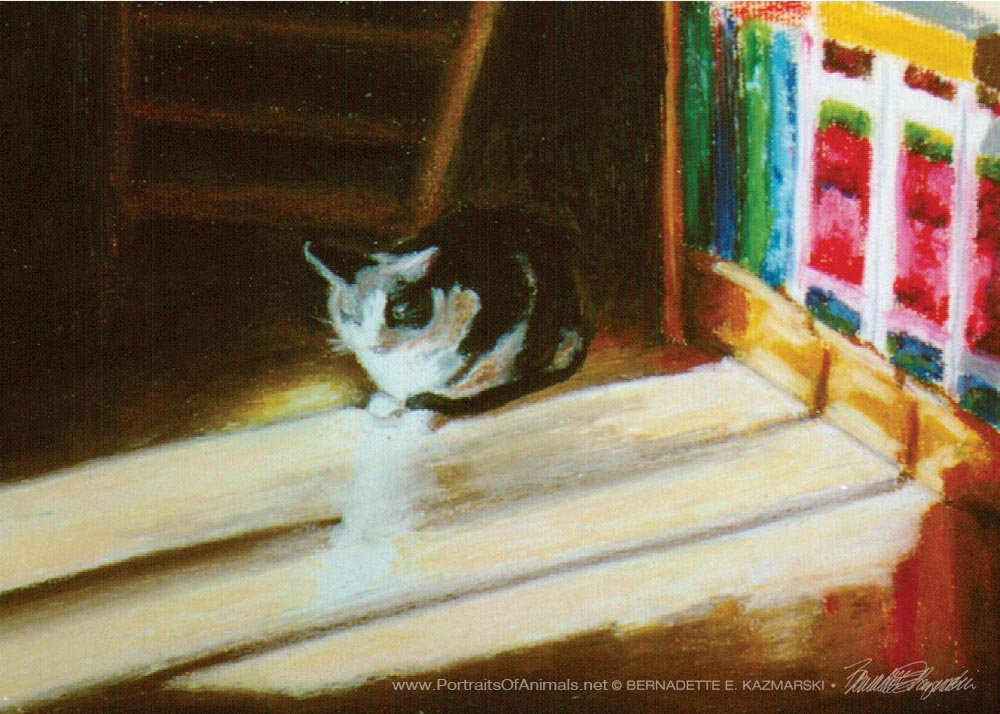"""Warm Winter Sun"", oil pastel, 2000, 10″ x 8 © Bernadette E. Kazmarski"