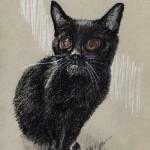 """Kennedy"", white and black charcoal on gray toned paper, 5″ x 8″ © Bernadette E. Kazmarski"