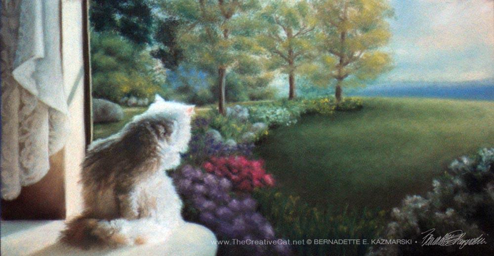 """Spring"", pastel, 12"" x 24"", 1998 © Bernadette E. Kazmarski"