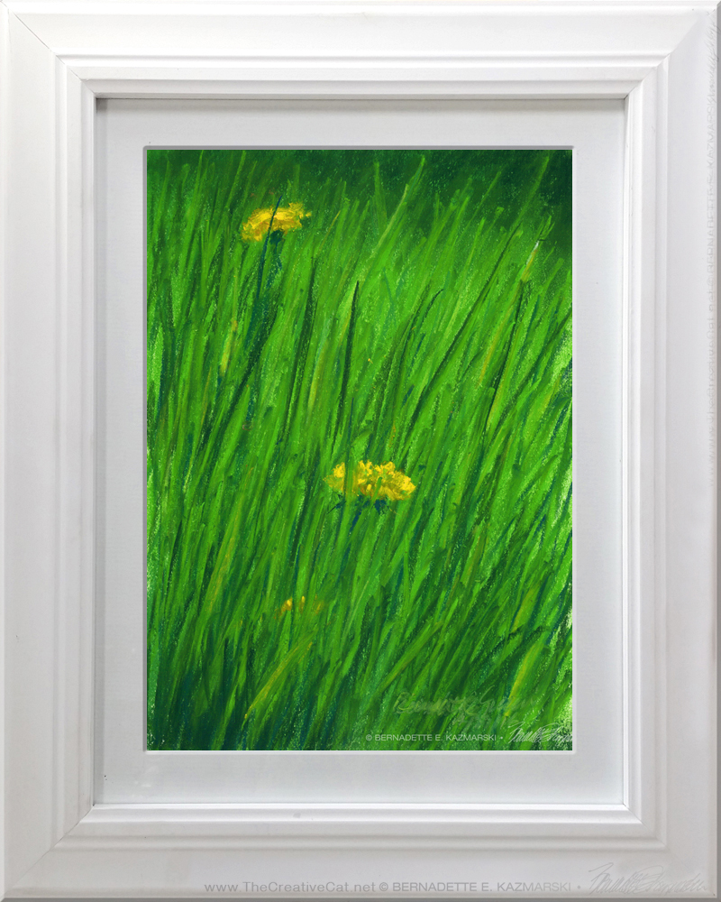 Spring Grass, matted and framed.