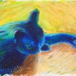 """In Window Light, 5"""" x 7"""", oil pastel © B.E. Kazmarski"""