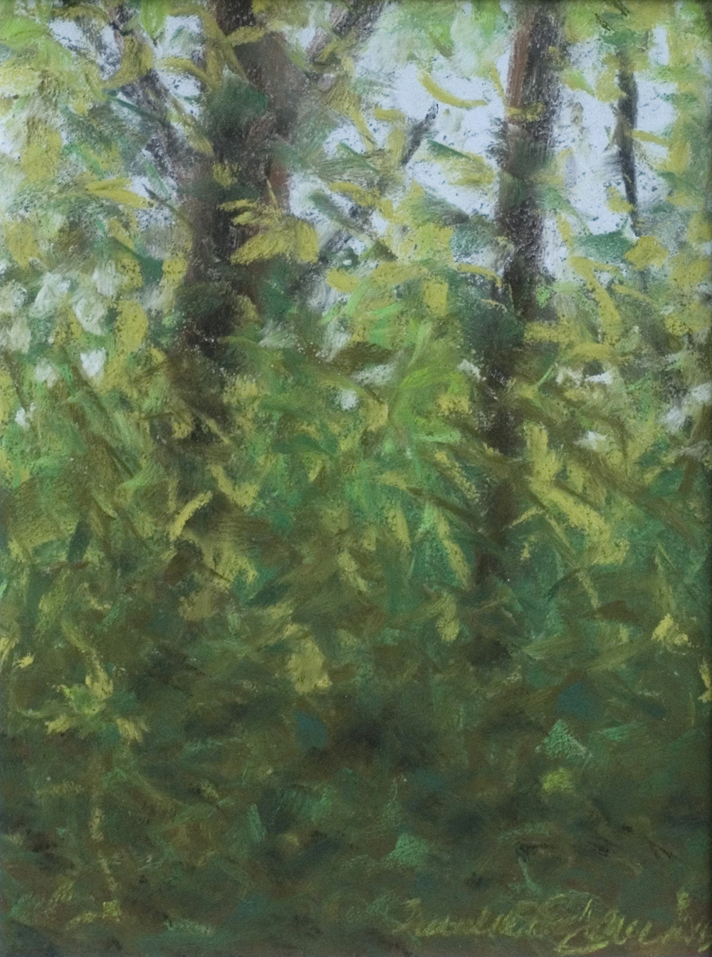 """Spring Morning Leaves"", pastel, 9"" x 12"" © Bernadette E. Kazmarski"