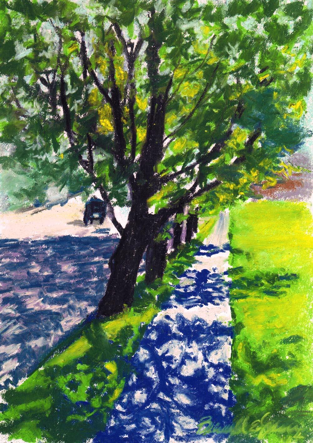 """Spring Sidewalk"", pastel, 6.5″ x 9.5″ © Bernadette E. Kazmarski"