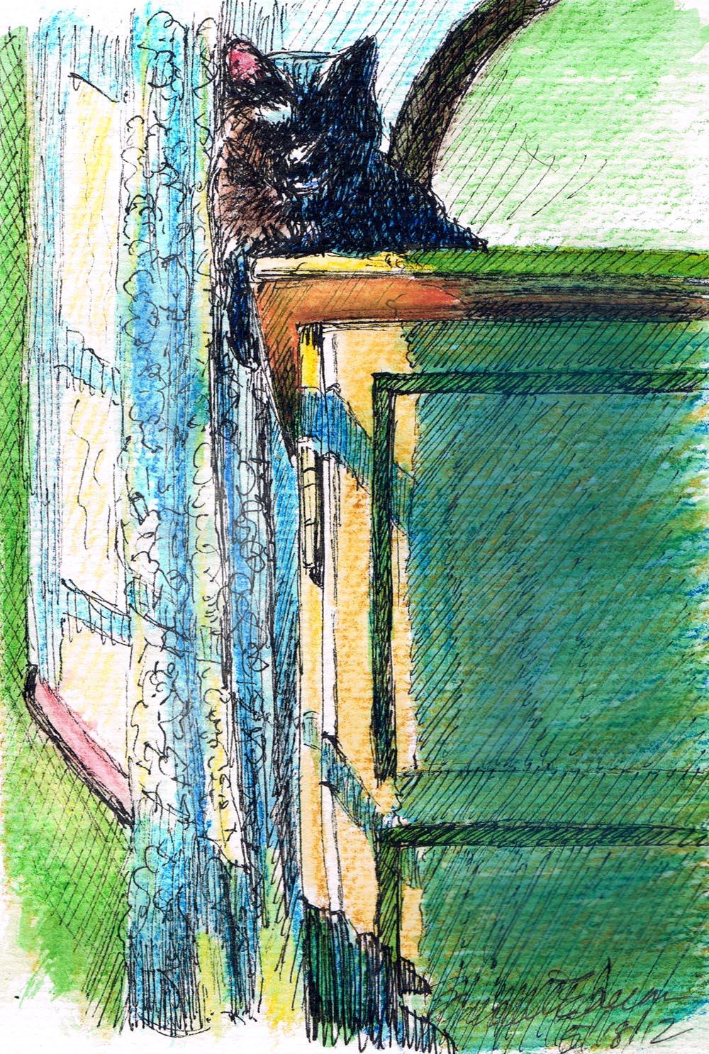 Top of the World, 5 x 7, ink marker and watercolor pencil © B.E. Kazmarski