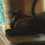 """Here in the Shadows"", pastel on pastello paper, 7.5"" x 11"" © Bernadette E. Kazmarski"