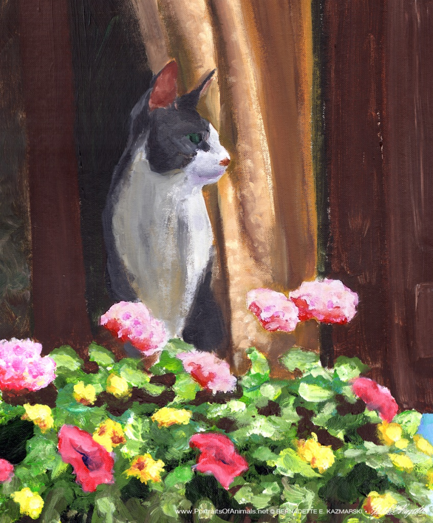 "Namir at the Window, acrylic, 13"" x 17"" © Bernadette E. Kazmarski"