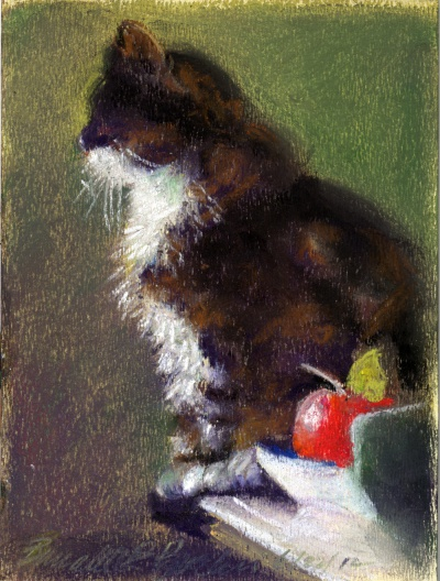 Stanley With Apple, pastel, 5″ x 7″ © B.E. Kazmarski
