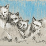 """Catamount Brushmore"", black and white charcoal on toned paper, 5.5″ x 8″ © Bernadette E. Kazmarski"
