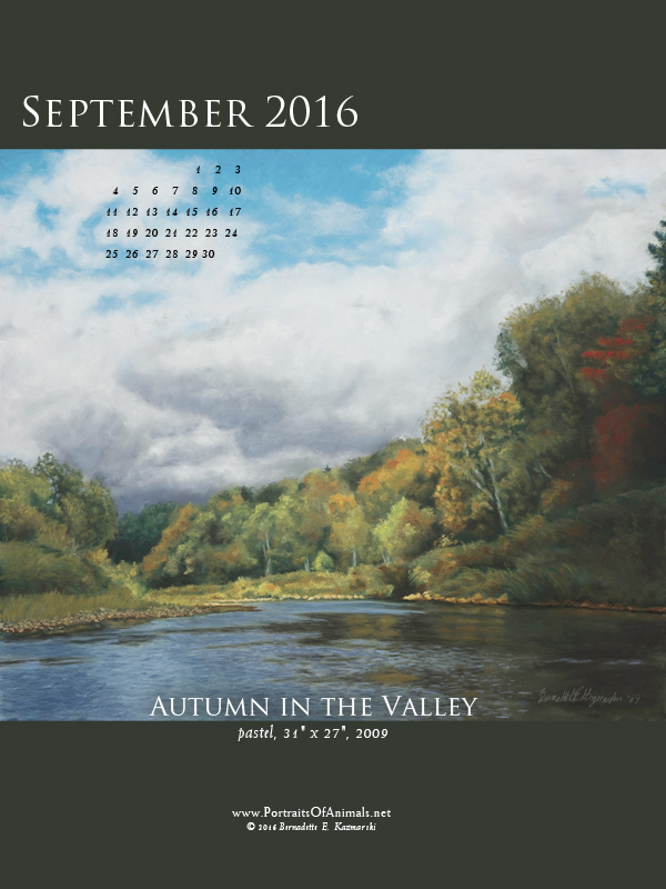 """Autumn inthe Valley"" desktop calendar, 600 x 800 for iPad, Kindle and other readers."