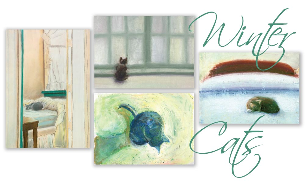 Winter Cats set of greeting cards