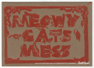Meowy Cat's Mess, red on kraft