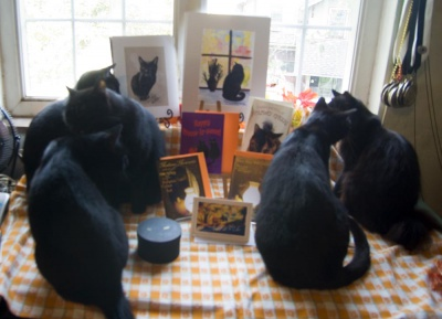 Five black cats join in the fun!