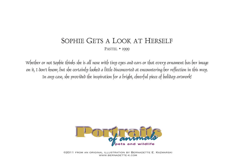Sophie Gets a Look at Herself, holiday card, back