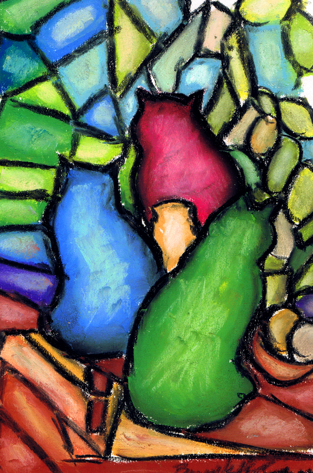 Stained Glass Cats, pastel, 6 x 9 © Bernadette E. Kazmarski