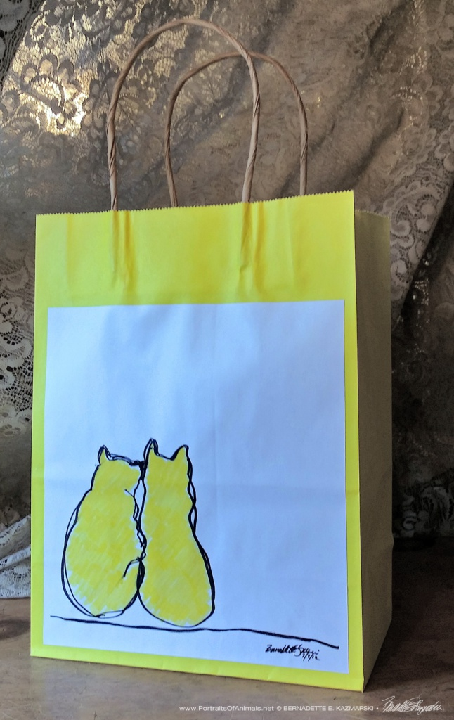 Two Yellow Cats Daily Sketches Gift Bag