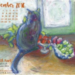 """""""Cat With Fruit"""" desktop calendar, 1280 x 1024 for square and laptop monitors."""