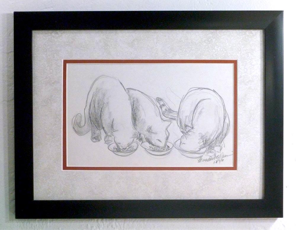 """""""Dinnertime"""" framed."""
