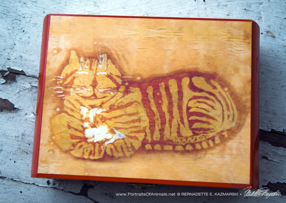 Orange Chesire Cat Batik Repurposed Cigar Box Keepsake.