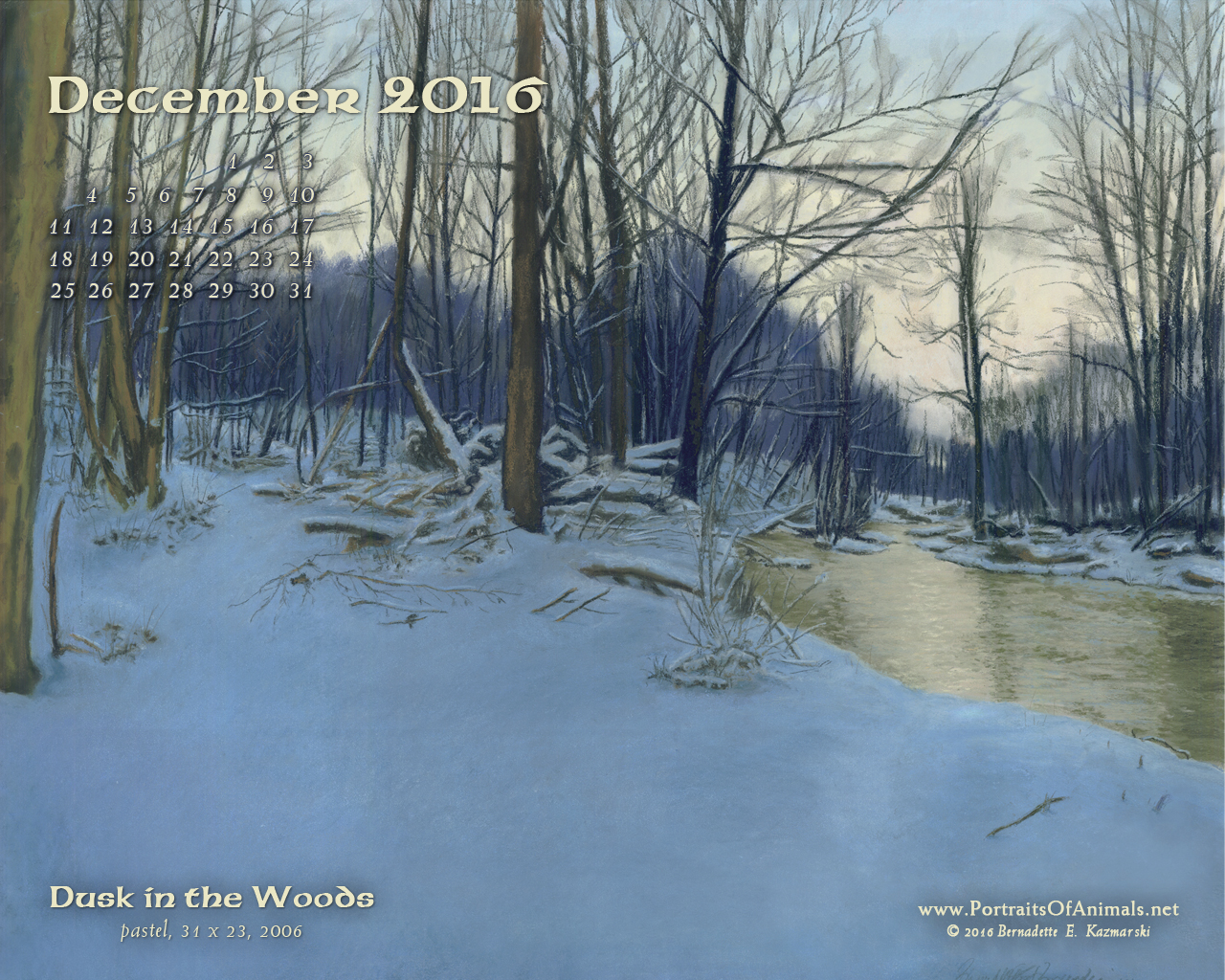 """Dusk in the Woods"" desktop calendar, 1280 x 1024 for square and laptop monitors."