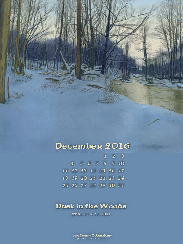 """Dusk in the Woods"" desktop calendar, 600 x 800 for iPad, Kindle and other readers."
