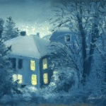 """Snow at Night"" pastel, 11.75″ x 8.25″ © Bernadette E. Kazmarski"