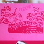Magenta cards, red ink.