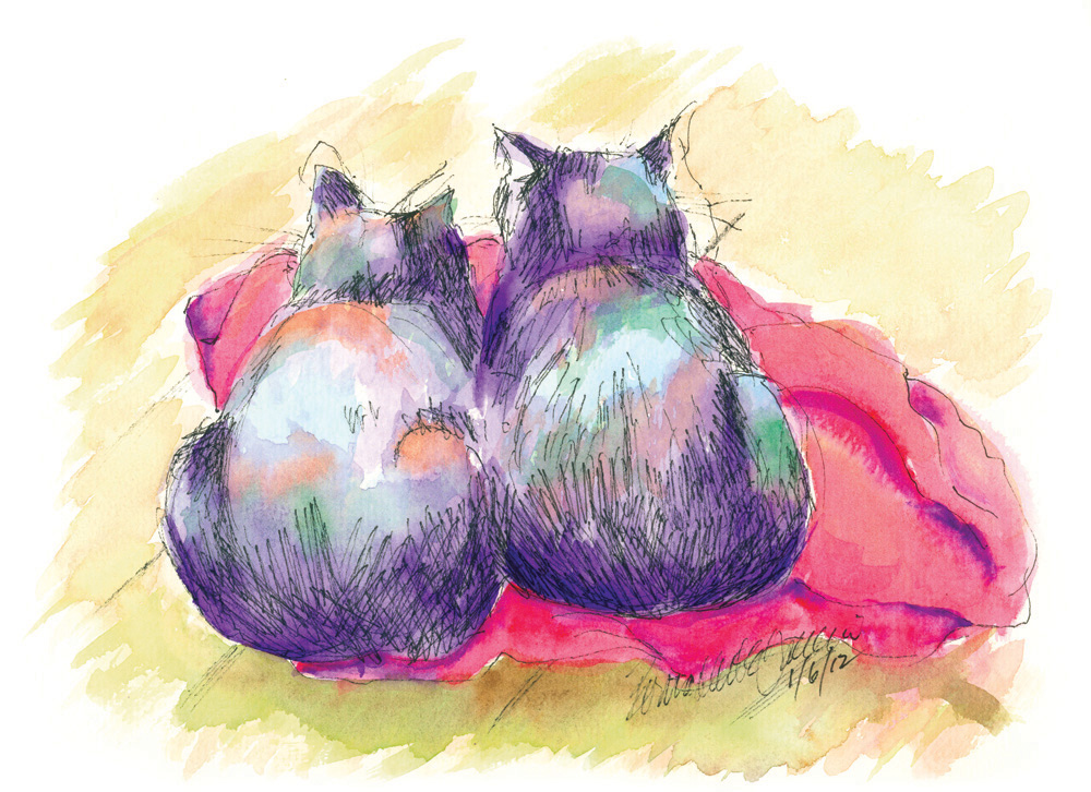 """Purple Cats, Red Blanket"""