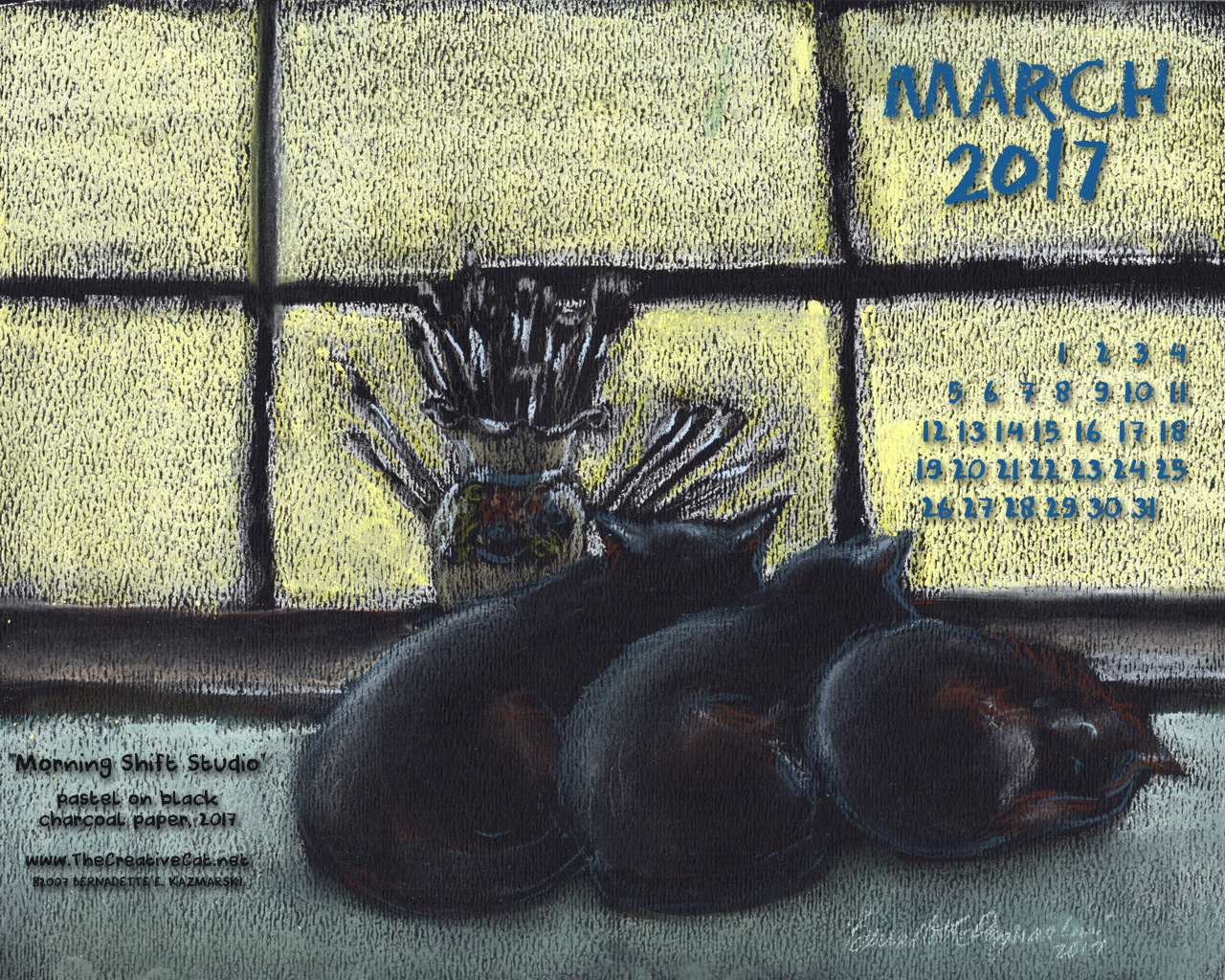 March Feline Desktop Calendar Wallpaper