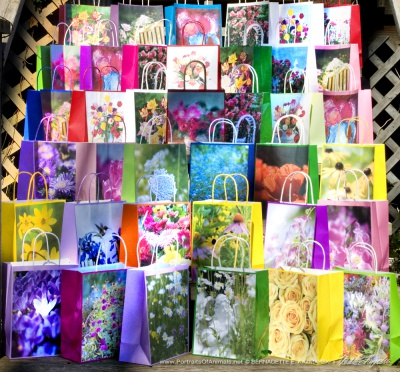 Flower-themed gift bags.