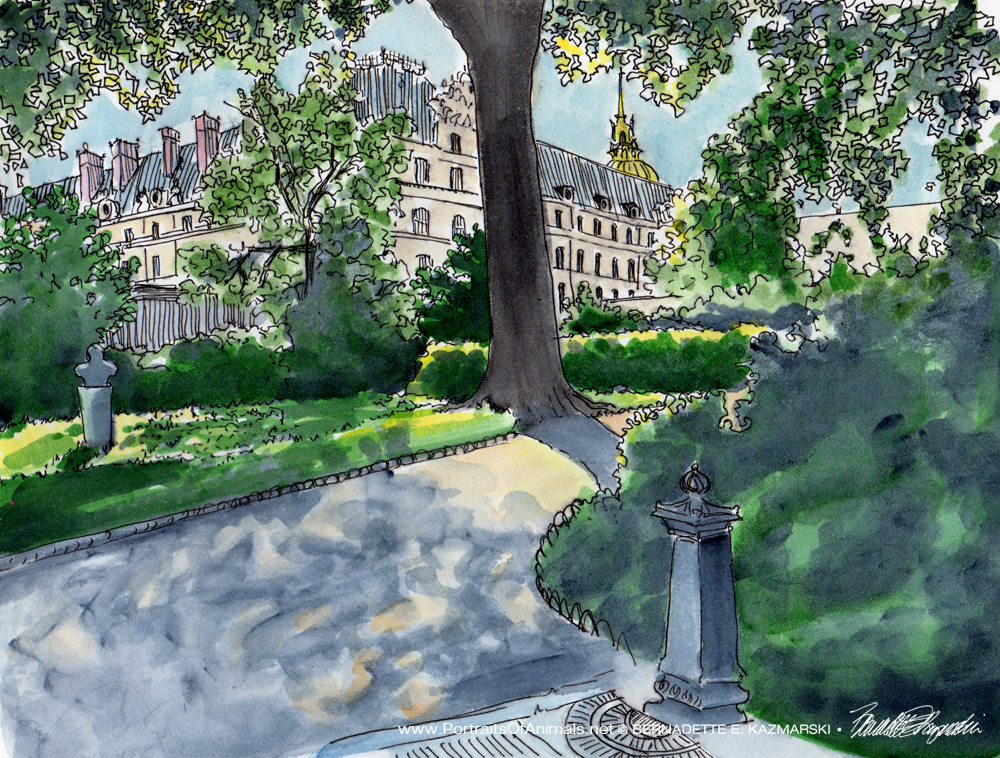 Les Invalides, ink and watercolor, 10 x 12, 2016.