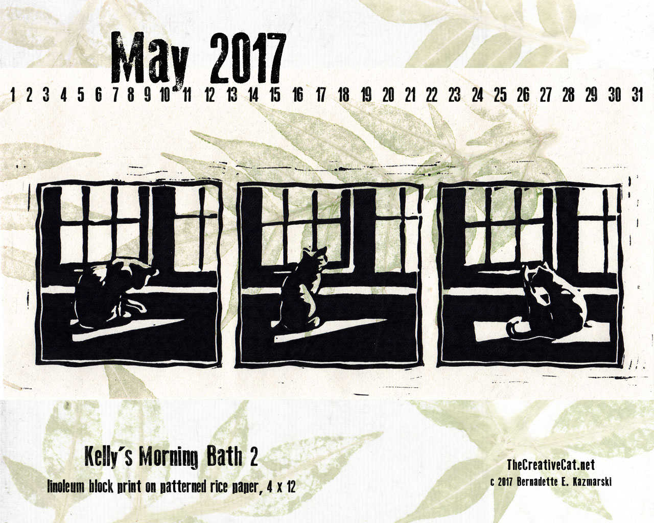 May Feline Desktop Calendar Wallpaper