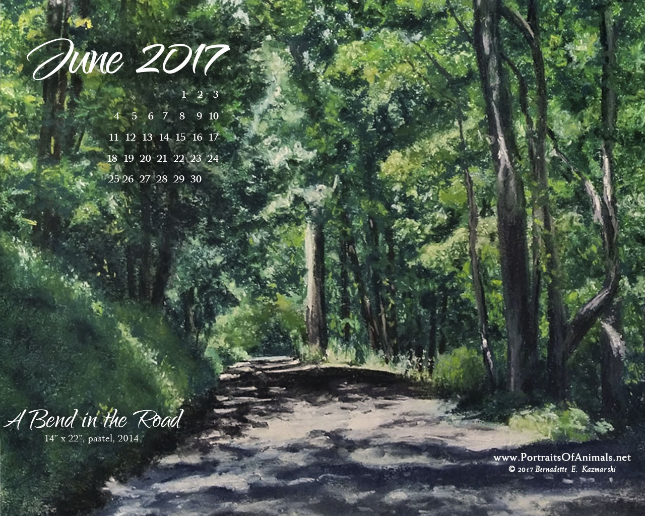 June Nature Art Desktop Calendar Wallpaper