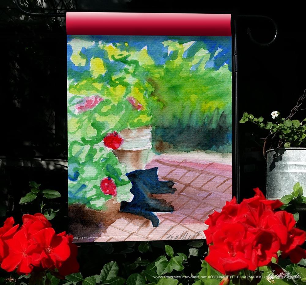 Garden Sketch with Mimi garden flag