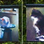 Impressionist Cats garden flag