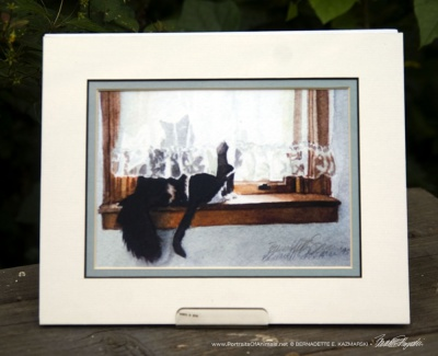 """Kitty and Buster"" matted print."