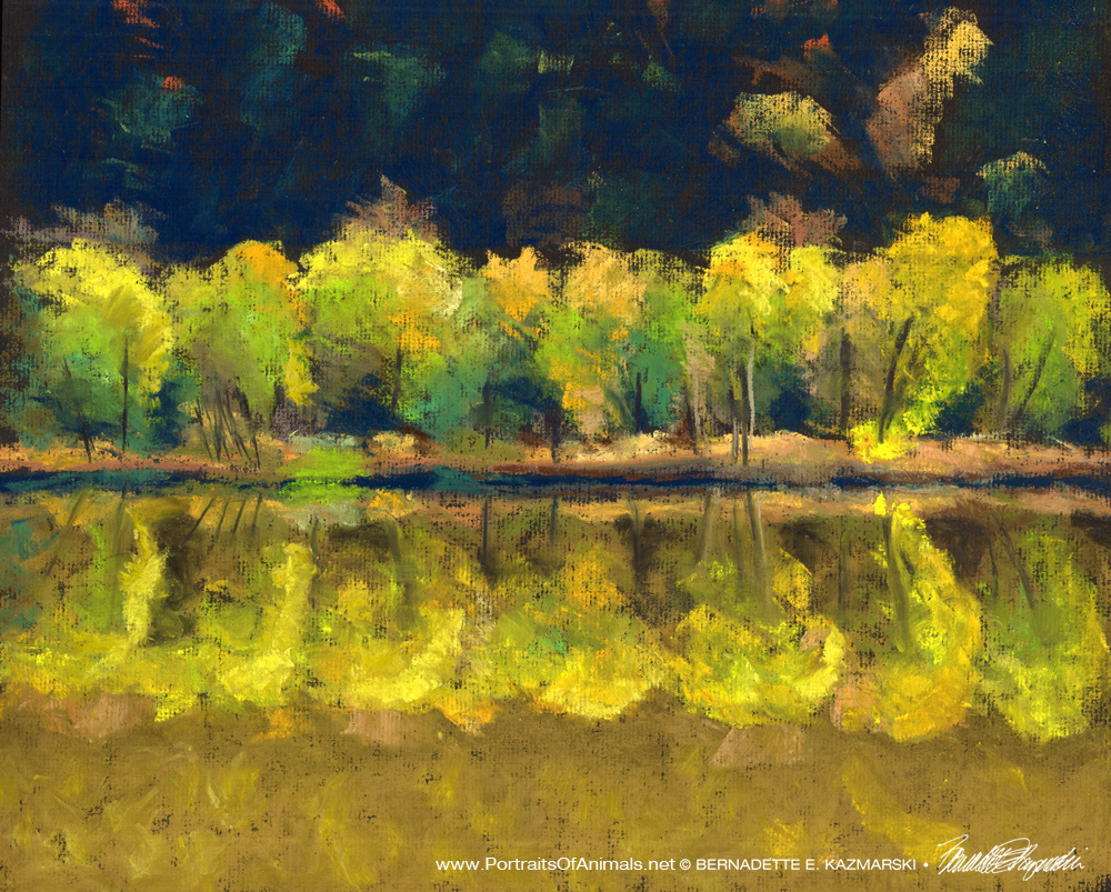 Allegheny River Reflections, pastel, 12, x 16 © Bernadette E. Kazmarski