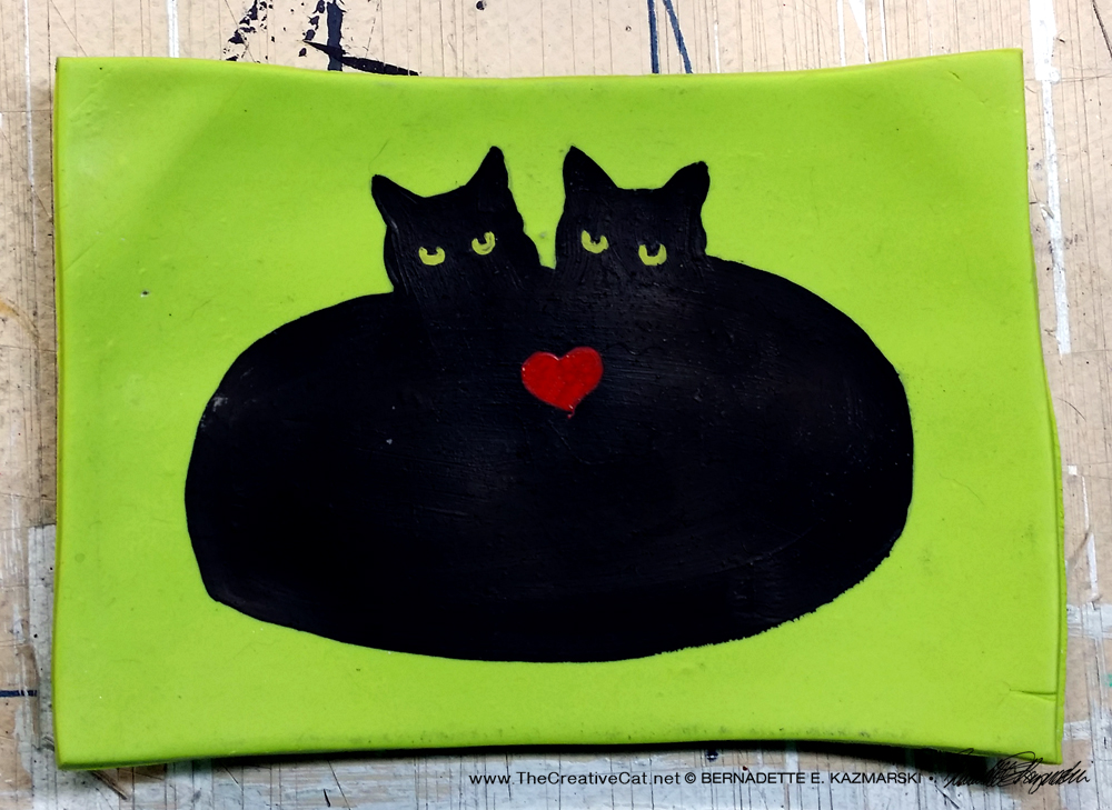 Heart Cat decorative dish.