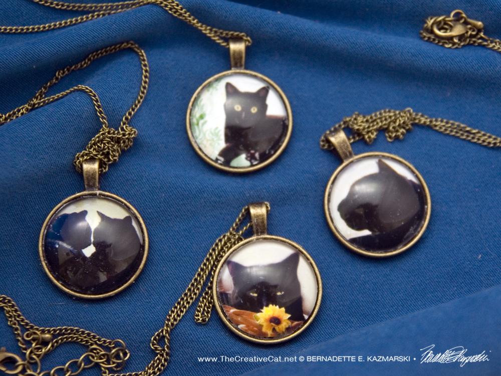 Black Cat Collection Cabochon Pendants