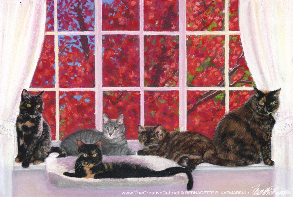 Feebee, Amber, Buckley, Allegra and Ruby, and the Red Maple, pastel, 12 x 18 © Bernadette E. Kazmarski