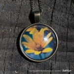 Cabochon Pendant, Woodland Sunflower